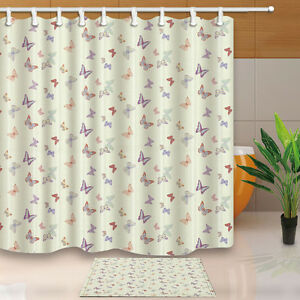 180x180cm Butterfly Moldproof Waterproof Bathroom Bath Shower Curtain with hooks