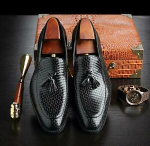 Vintage-Men-Tassel-Casual-Loafers-Pointed-Toe-Leather-Shoes-Dress-Formal-Oxfords