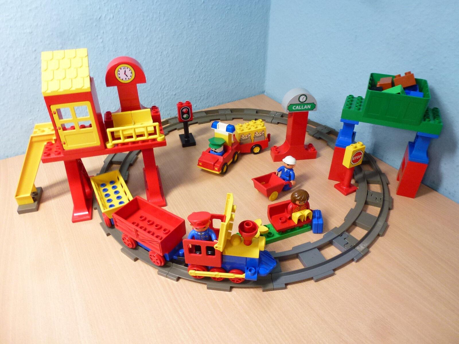 Lego Duplo Chemin de fer coulissantes locomotive Marchandises Gare pierres à 3772 5608 5609 703