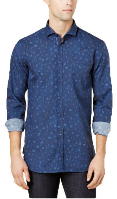 cfa64474 HUGO BOSS Orange Label Mens Cattitude Blue SlimFit Printed Button Up Shirt  S 2XL