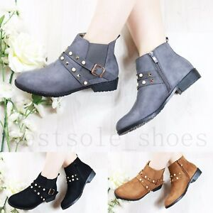 Image Is Loading Las Womens Studded Chelsea Ankle Boots Low Block