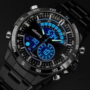 INFANTRY-Herren-Uhr-Armbanduhr-Digital-Sport-Militaer-Schwarz-Chronograph-Outdoor