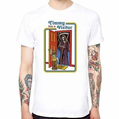 Timmy has a Visitor print Men/'s T-shirt Funny Cotton Tops Short Sleeve Black Tee