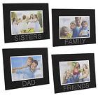 Nera Cornice In Vetro Per Foto con trasparente Gemme Dad,Mamma,Famiglia,Sorelle/