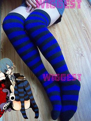 Panty & Stocking with Garterbelt Anarchy Cosplay Socks Blue Black Streak Knee