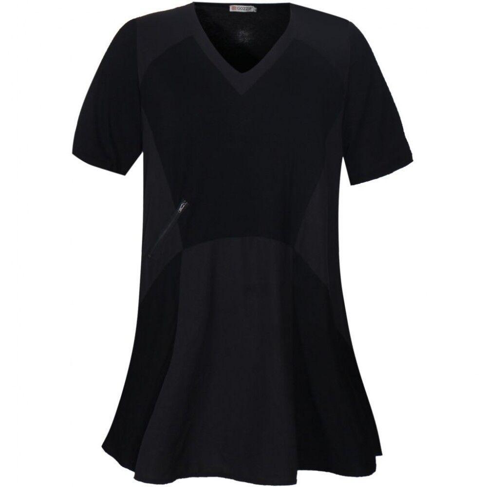 Gozzip Tunika, Longshirt Viskose - locker sitzend, A-Linie, Lagenlook, schwarz
