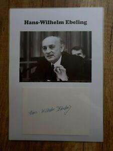 Hans-Wilhelm Ebeling (Ex-Minister DDR) - Wunderschönes Originalautogramm DIN-A-4