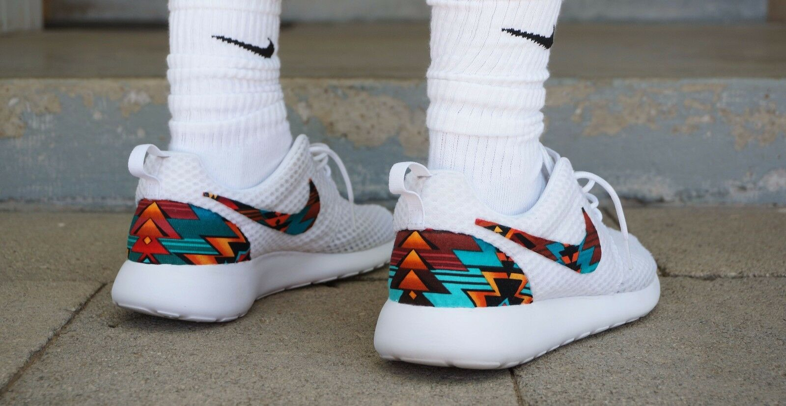 new product 43d67 3c440 ... order nueva nike roshe run tribal custom turquesa naranja blanco tribal  run edición hombres comodos marca