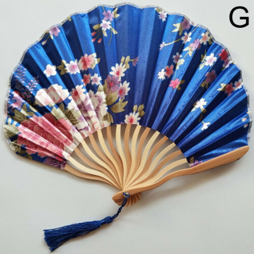 Details about  / Flower Floral Folding Fan Hand Fans Chinese Style Bamboo Vintage Fans Decor US