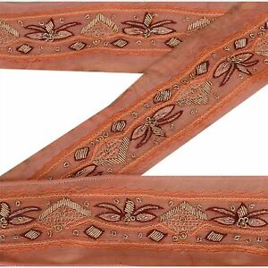 Embellishments & Finishes Orderly Vintage Sari Border Antique Hand Beaded Indian Trim Décor Ribbon Peach Lace Crafts