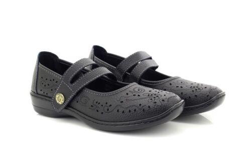 BOULEVARD L394 Stivali in pelle Wide Fit tocco fissaggio perforata Bar Scarpe Blac