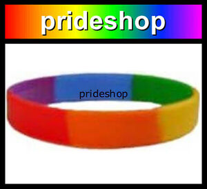 Single Rainbow Silicone Wristband Gay Lesbian Pride Rainbow Store Wrist Band #43