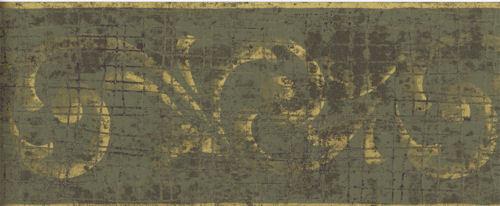 Distressed Metallic Gold Scroll on Green Alligator Skin Wallpaper Border RV2673B