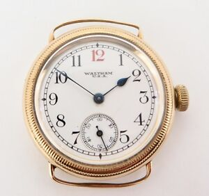Rare-Vintage-1927-Waltham-17J-18k-Gold-Military-Style-Case-Wrist-Watch-Serviced