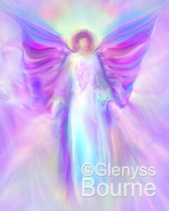 Archangel-Raphael-Picture-CANVAS-Spiritual-Angel-Art-Painting-By-Glenyss-Bourne
