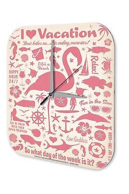 Amichevole Orologio Da Parete Fun Decorazione Parete I Love Vacation Beach Flamingo Coctail Acrilico Dekouhr Nost-