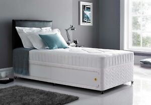 3ft Single Damask Divan Bed Base Only Storage Options Available