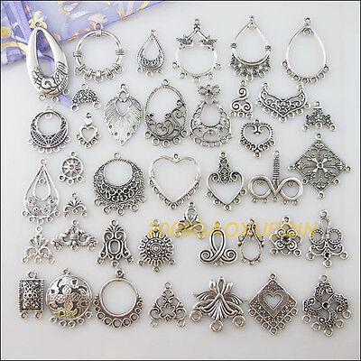 40Pcs Tibetan Silver Flower Heart Oval Teardrop etc.Mixed Charms Connectors F233