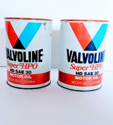 2 Vintage Valvoline Super HPO Motor Oil HD SAE 30 Part No 159 1 Quart Paper Can