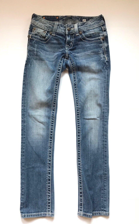 Miss Me Jeans Womens Size 24 bluee Cotton Striaght Bling Rhineston Fleur de Lis