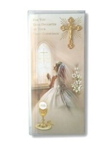 First Holy Communion Greeting Card For A Daughter 3d Metal