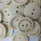 100pcs DIY Nature Wood Sewing Buttons 2 Holes Scrapbook Handmade Button