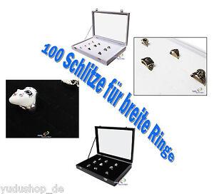 Schaukasten Schmuckkaste Glasdeckel Mit 100 Schlitze Für Breite Ringe