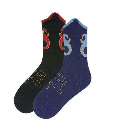One Pair K.Bell Navy Blue Lt Blue Gold Western Boot Design Ladies Crew Socks New