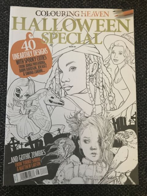 Colouring Heaven Magazine Halloween Coloring Book 40 Witch Zombie Issue 66  For Sale Online EBay