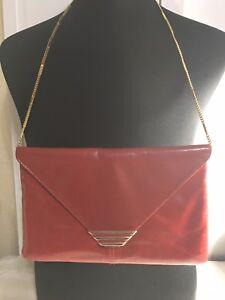 Vintage Strap Rotes Leder Kette Handtasche Umschlag Abend Cici 7faxw