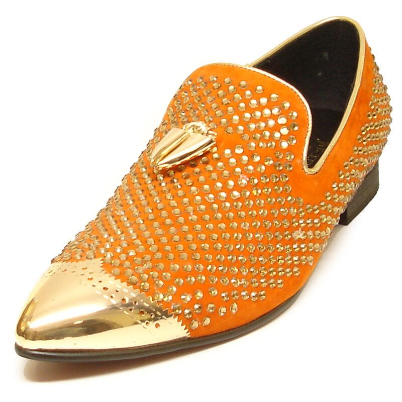 FI-6968 Orange Suede Tassel Slip On Loafers Metal Tip Rhinestones Fiesso Shoes Scarpe classiche da uomo