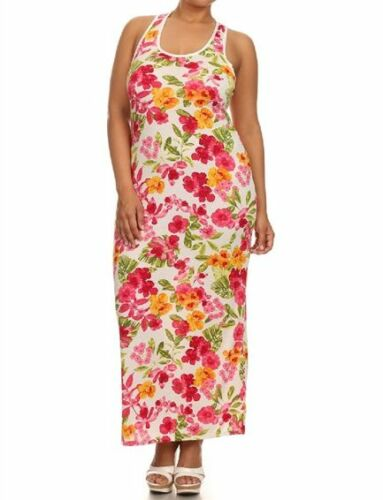 Women Summer Floral Racerback Maxi Long Casual Dress Plus Size 14-16-18-20-22-24