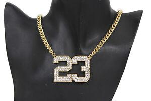 Women-Fashion-Gold-Metal-Chains-Short-Necklace-Number-23-Charm-Pendant-Jordan