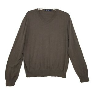 J-Crew-V-Neck-Cotton-Cashmere-Sweater-Mens-Size-XL-Brown-Long-Sleeve-Pull-Over