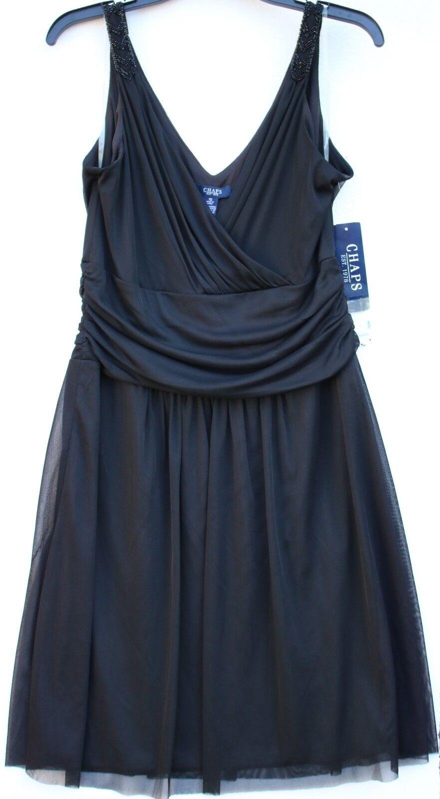 Chaps by Ralph Lauren schwarz Embellished Sleeveless Sheer Voile Cover Dress 16 XL