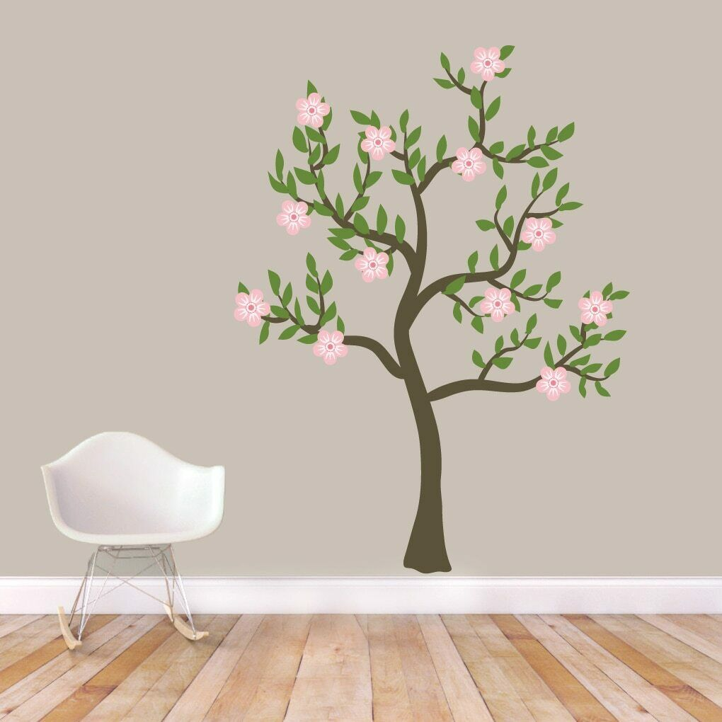 Pink Flower Tree Printed Wall Decal - Flower, Tree, Blooms, Garden, Spring
