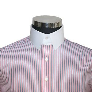 Cotone Anello Collare Uomo Blu Bianco Camicia Bond James Colletto Gessato Rosa 6FTwqU7