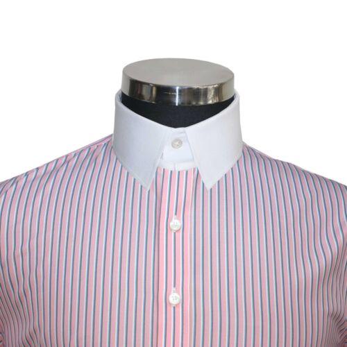Gessato Blu Bond Cotone Bianco Camicia Uomo Anello James Collare Rosa Colletto P6xw17XqU