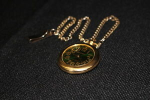Jewelry & Watches Quartz Movt Milan Mln1070 Gold Tone Open Face Green Dial Pocket Watch W/chain Watches, Parts & Accessories