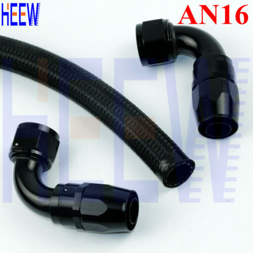 AN16 16-AN NYLON BRAIDED 16AN OIL LINE 90 DEGREE ELBOW ADAPTER HOSE END FITTING