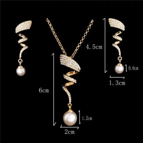 Moderne 18k or plaqué élégant Autrichien Cristal Bijoux Sets Collier//Boucles d/'oreilles