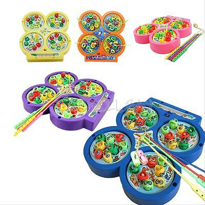 Electric Rotating Magnetic Magnet Fish Fishing Game Kid Children Educational Toy