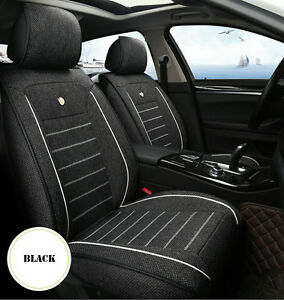Deluxe-Edition-Car-Seat-Cover-Cushion-5-Seats-Front-Rear-Linen-Fabric-w-Pillow