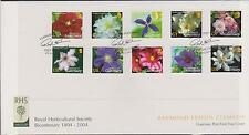 GB GUERNSEY 2004 RHS 200th Ann Flowers/Clematis Booklet UK/GY S/A SG 1016/25 FDC