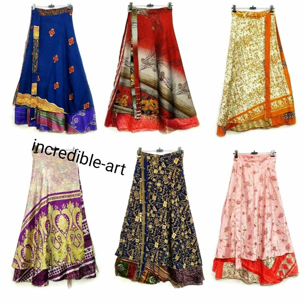 20 PC Menge Indisch Seide Umwickeln Magic Röcke Zwei Lagen Strand Sommerkleid