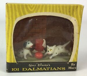 Walt Disney 101 Dalmatians Coffret de jeu de scènes de télévision Disneykins C, Marx 1959, rare
