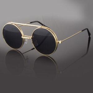 f6842bdc7c9 Details about Metal Flip Up Lens Steampunk Vintage Retro Style Round  Sunglasses Black Gold New
