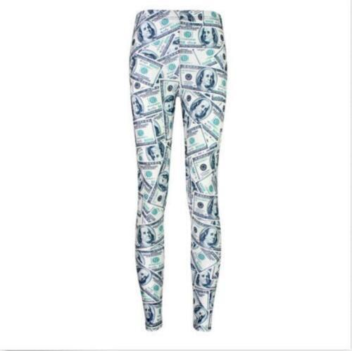 Woman Legging USD Money printed elastic Legging S-4XL Slim legging