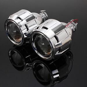 2x-RHD-2-5-039-039-Lenticolare-Proiettore-Lente-Fari-Angel-Eye-Bi-Xenon-Luci-H1