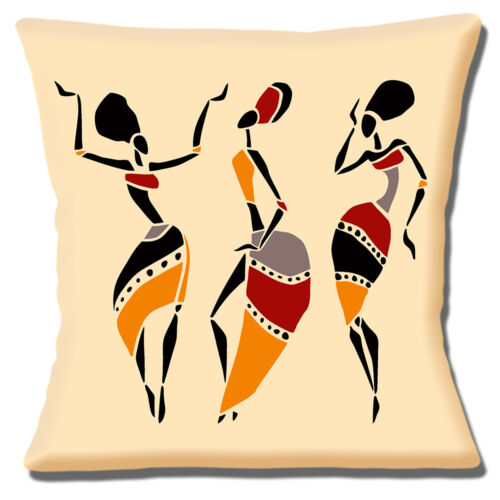 Señoras tribal africano Cubierta para Cojín 16x16 pulgadas 40cm bailando siluetas étnico